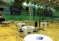 view of hall set up for electoral count in Medway