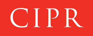 White lettering with CIPR on red background