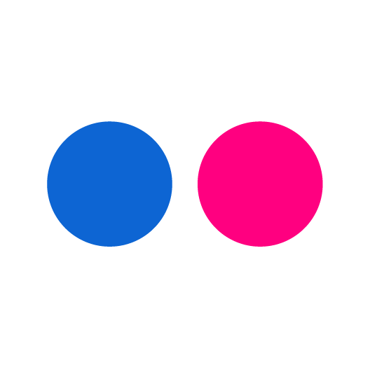 Flickr logo blue and pink circles on white square